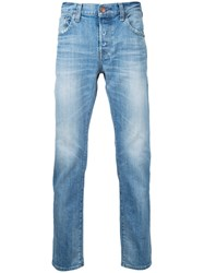 Red Card Stonewashed Cropped Jeans Men Cotton 30 Blue