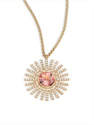 Astley Clarke Rising Sun Diamond Pink Tourmaline And 18K Yellow Gold Pendant Necklace Gold Pink