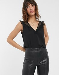French Connection Lace Trim Tank Black