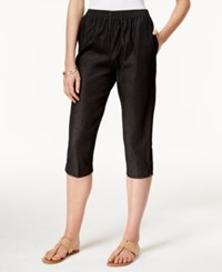 Alfred Dunner Pull On Cropped Denim Pants Black