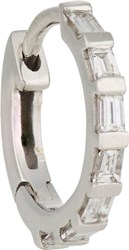 Stone Baguette Diamond And White Gold Hoop Earring Colorless