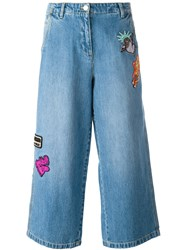 Kenzo Patch Detail Cropped Jeans Blue
