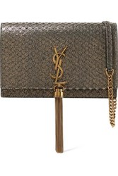 Saint Laurent Kate Small Snake Effect Metallic Suede Shoulder Bag Gold