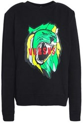 Versus By Versace Printed French Cotton Terry Sweatshirt Black