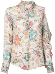 Nicole Miller Airmail Stamps Boyfriend Blouse Nude And Neutrals