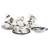 Fornasetti Tema E Variazioni 2005 Set Of 6 Teacups Black White Gold