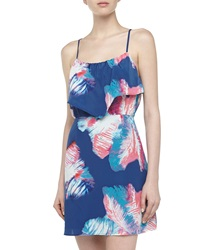 Neiman Marcus Tiered Palm Print Sundress Navy