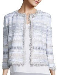 St. John Fringe Trim Jacket White Multi