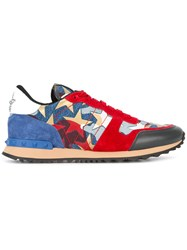 Valentino Star Panel Sneakers Men Cotton Suede Polyester Rubber 44 Red