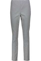 Theory Navalane Printed Stretch Cotton Blend Skinny Pants Ivory
