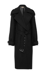 Michael Kors Collection Oversized Wool Melton Trench Coat Black