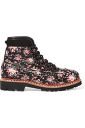 Tabitha Simmons Bexley Floral Print Leather Ankle Boots Black