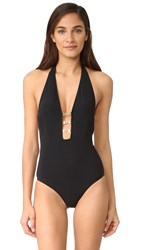 Tory Burch Gemini Link Plunge One Piece Black