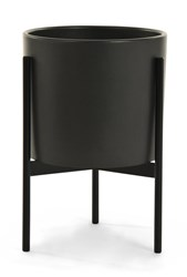 Modernica Case Study Ceramic Cylinder Planter With Metal Stand Small Charcoal Black