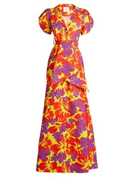 Rosie Assoulin Tropical Print Puff Sleeved Cotton Blend Gown Purple Multi