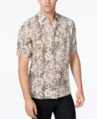Tasso Elba Men's Silk Linen Leaf Print Short Sleeve Shirt Classic Fit Khaki Combo