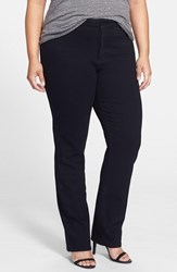 Plus Size Women's Nydj 'Hailey' Stretch Straight Leg Jeans Black Petite Plus