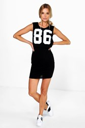 Boohoo Baseball Double Layer Dress Black