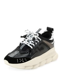 Versace Chain Reaction Platform Sneakers Black White
