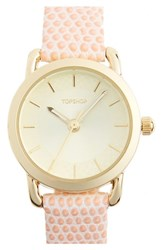 Topshop Women's Textured Leather Strap Watch 26Mm