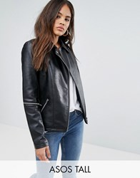 Asos Tall Leather Look Jacket With Zip Sleeves Black