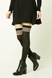 Forever 21 Striped Over The Knee Tights Black Nude