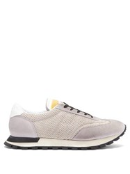 Maison Margiela Low Top Mesh And Suede Trainers Grey Multi