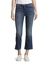 J Brand Whiskered Five Pocket Cropped Cuff Jeans Rise