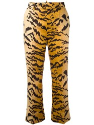 Dsquared2 Tiger Print Tailored Trousers Brown