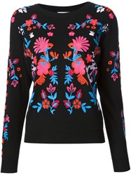 Tanya Taylor Embroidered Floral Sweater Black