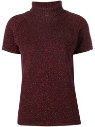 Circolo 1901 Roll Neck Knitted Top Red
