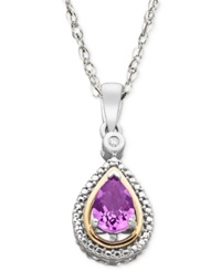 Macy's Sterling Silver And 14K Gold Necklace Amethyst 5 8 Ct. T.W. And Diamond Accent Pendant