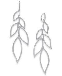 Danori Cubic Zirconia Leaf Drop Earrings Created For Macy's Rhodium