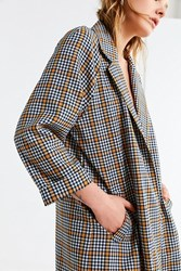 Urban Outfitters Uo Checkered Long Coat Grey Multi