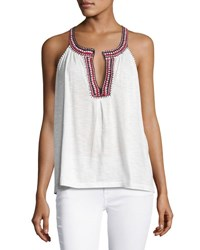 Soft Joie Yvanna Embroidered Sleeveless Cotton Top White