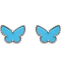 Van Cleef And Arpels Sweet Alhambra Gold Turquoise Stud Earrings White Gold