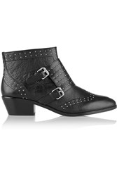 Rebecca Minkoff Addison Studded Monk Strap Leather Boots Black