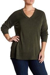 Sweet Romeo Ribbed V Neck Sweater Plus Size Green