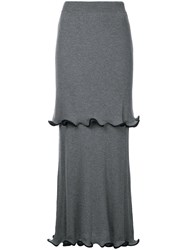 Stella Mccartney Ruffled Midi Skirt Women Cotton Virgin Wool 42 Grey