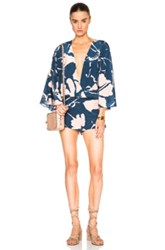 Adriana Degreas Crepe De Chine Playsuit In Blue Floral