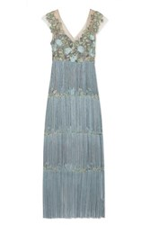 Marchesa Notte Fringed Embellished Tulle And Satin Gown Light Blue