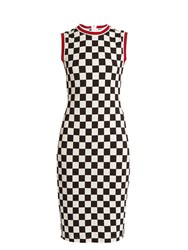 Givenchy Round Neck Sleeveless Checked Jersey Dress Black White