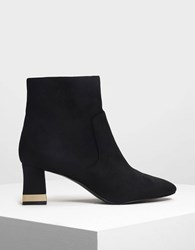 Charles And Keith Metallic Accent Heel Boots Black