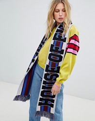 House Of Holland Unisex Striped Maxi Football Scarf Berry Multi