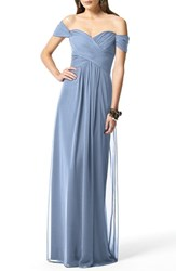 Dessy Collection Women's Ruched Chiffon Gown Cloudy
