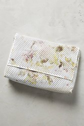 Anthropologie Perforated Bouquet Clutch Ivory