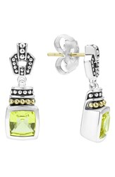 Lagos Women's 'Caviar Color' Square Semiprecious Stone Drop Earrings Green Quartz