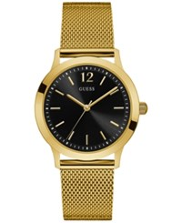 Guess Men's Classic Gold Tone Stainless Steel Mesh Bracelet Watch 37Mm U0921g3