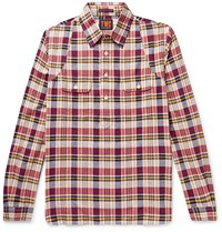 The Workers Club Madras Cotton Half Placket Shirt Red