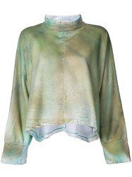 Eckhaus Latta Printed Oversized Sweatshirt Women Cotton One Size Green